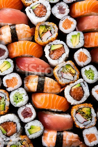 istock Japanese sushi collection 1053854124