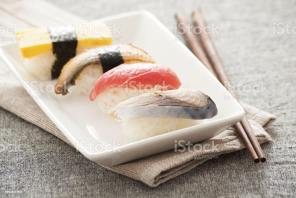 Japanese Sushi -- Egg, Tuna, Eel, Swordfish royalty-free stock photo