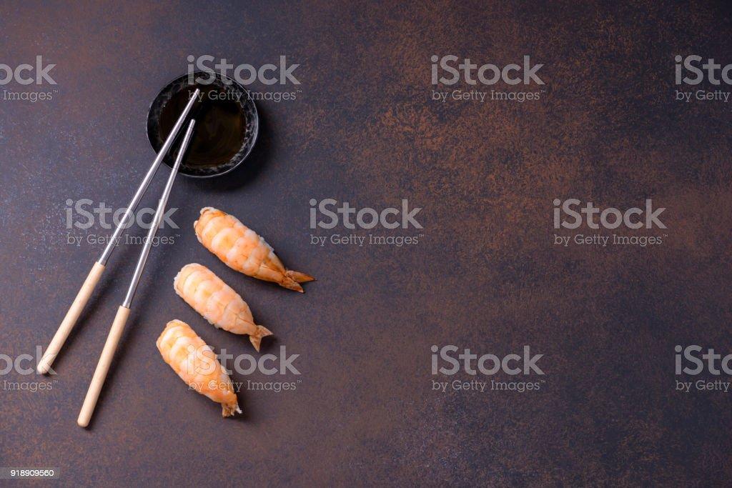 Japanese sushi nigiri with shrimp stock photo