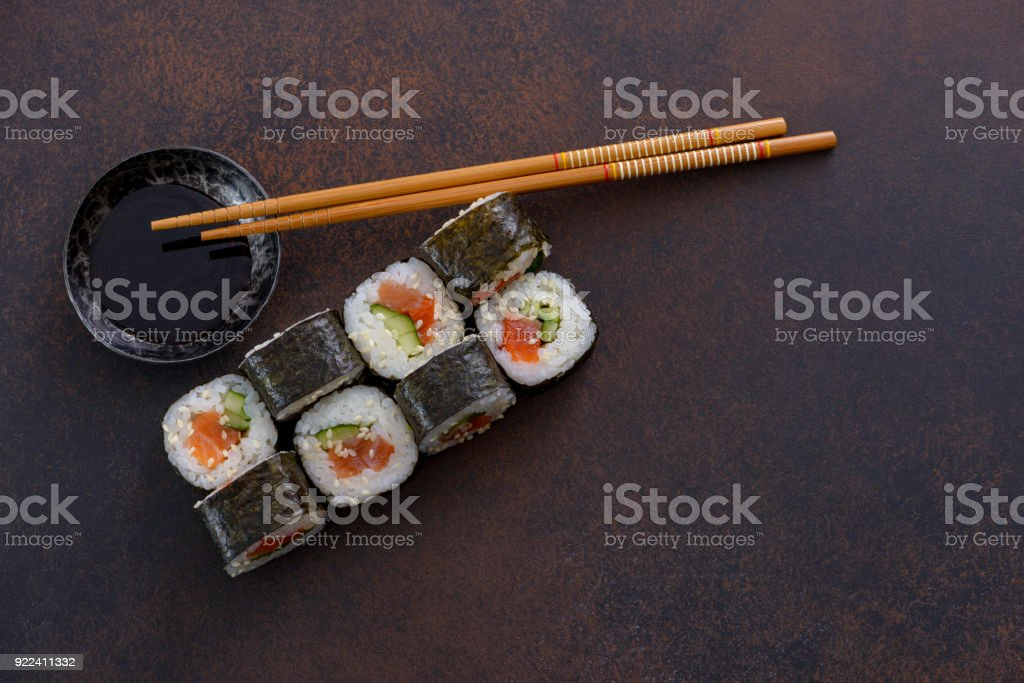 Japanese sushi roll with soy sauce stock photo