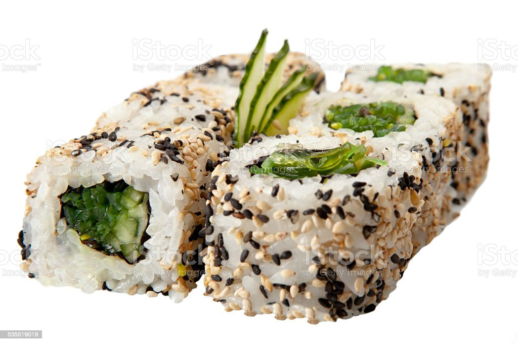 Japanese sushi rolls on white background stock photo