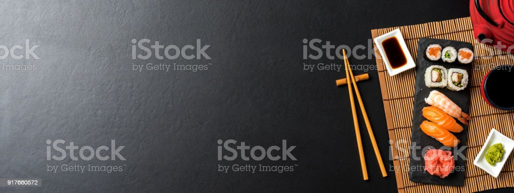 Japanese sushi. Top view stock photo
