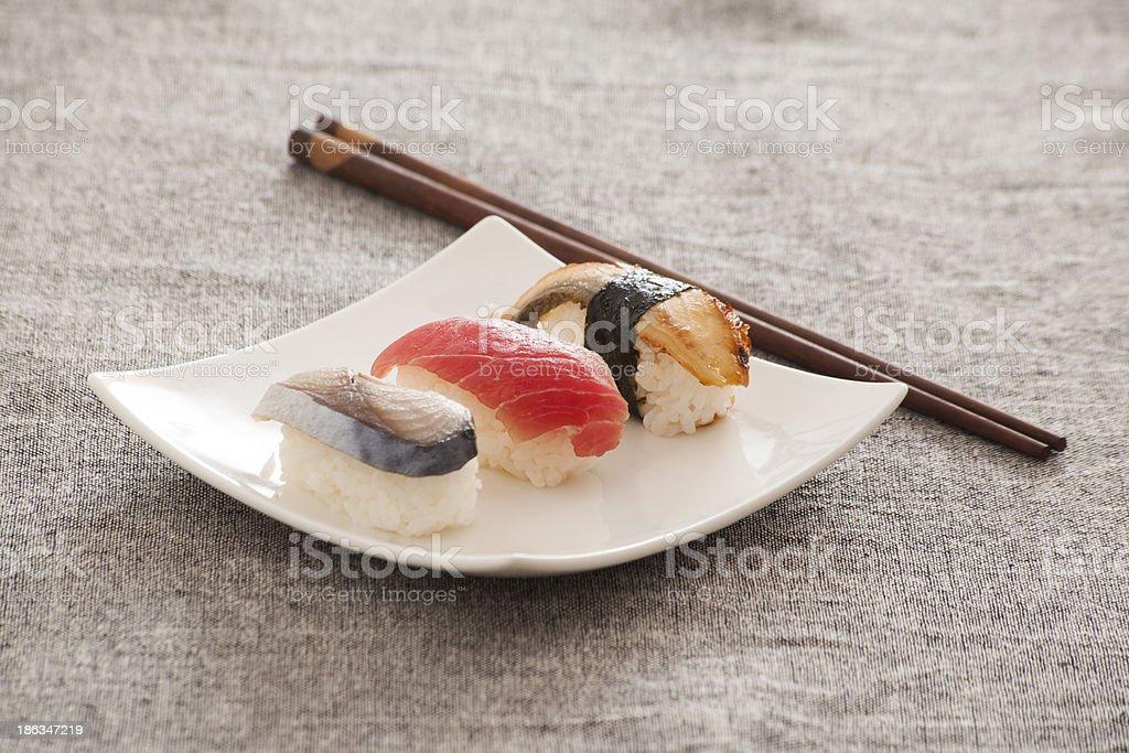 Japanese Sushi -- Tuna, Eel, Swordfish royalty-free stock photo