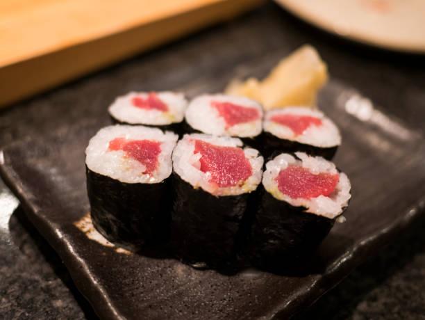 Japanese Sushi   Tuna roll stock photo