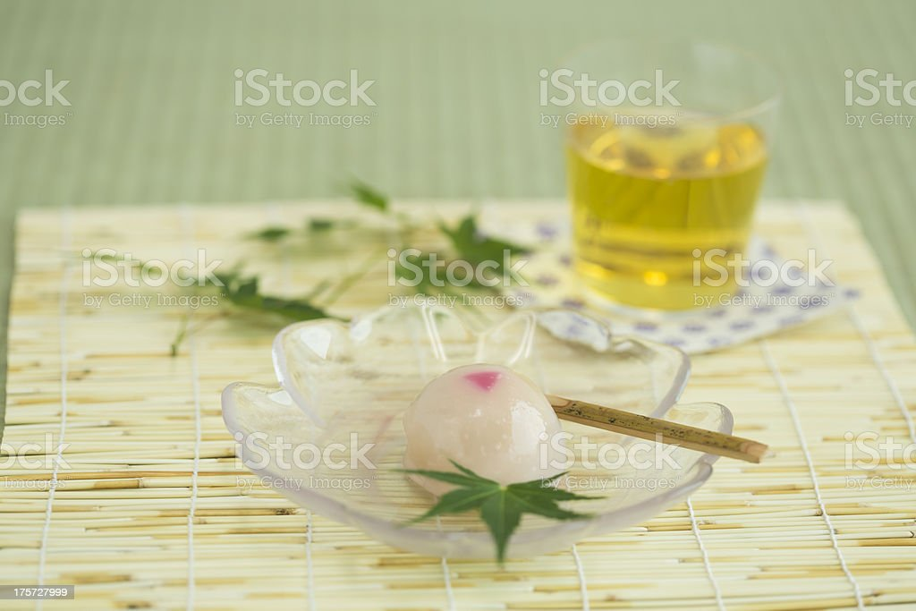 Japanese sweet and tea royalty-free stock photo
