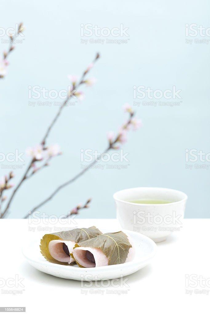 Japanese sweet 'Sakuramochi' royalty-free stock photo