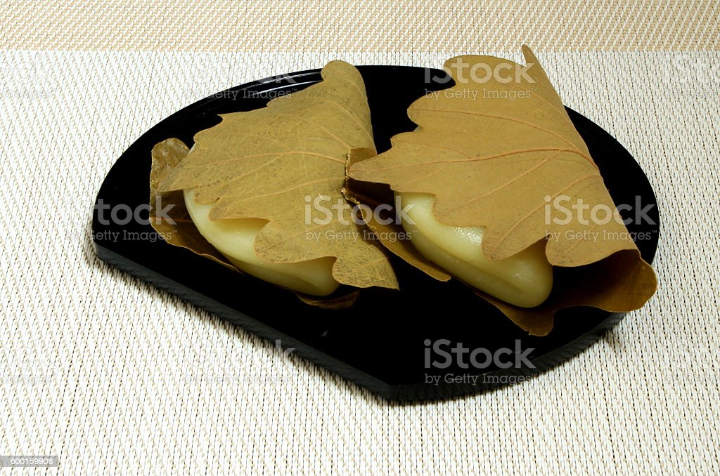 Japanese sweets, Kashiwamochi stock photo