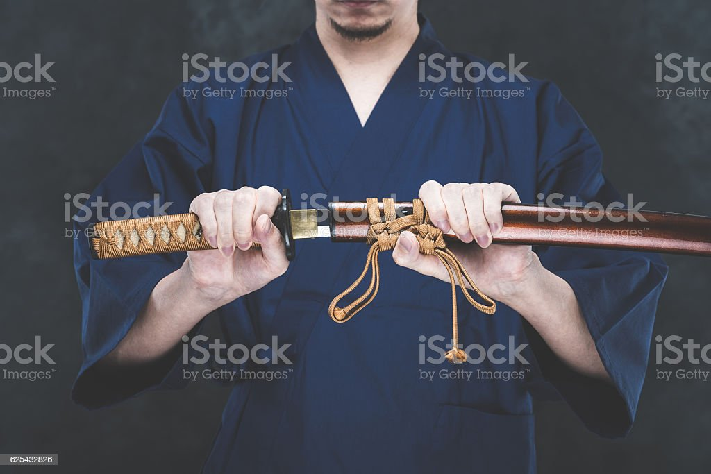 Japanese sword and men stock photo