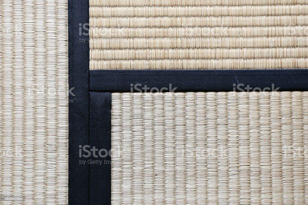 Japanese Tatami Rug Background with three Tatamis Joining stock photo