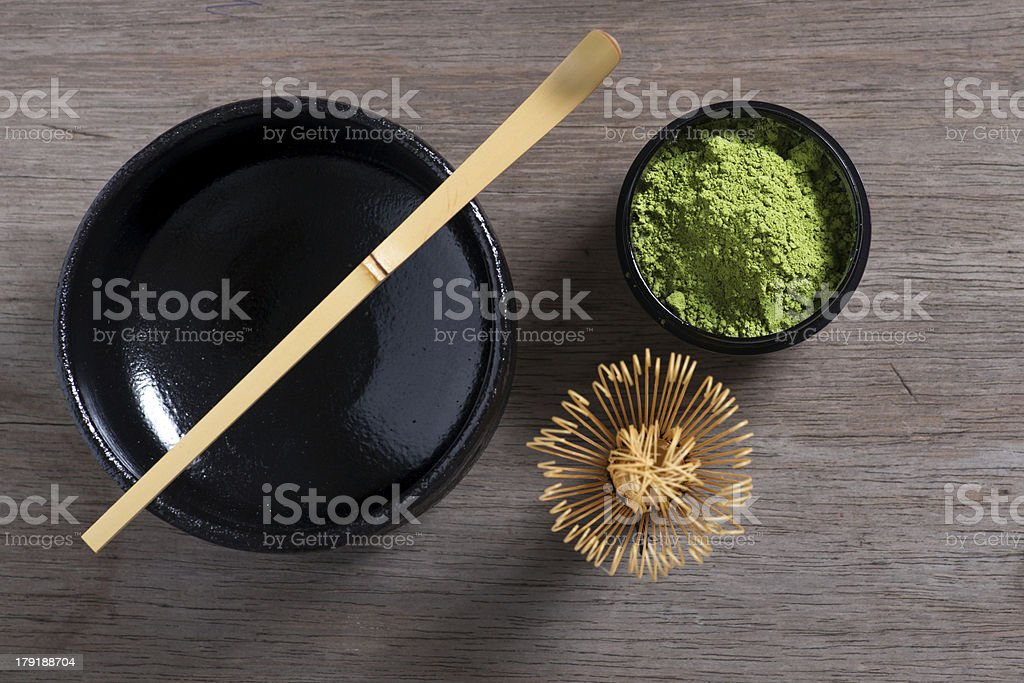 Japanese tea ceremony setting on wooden bench. stock photo