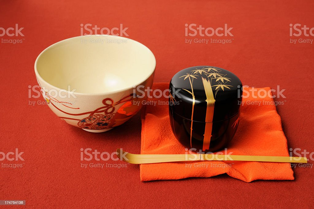 Japanese tea ceremony tool on red cloth stock photo