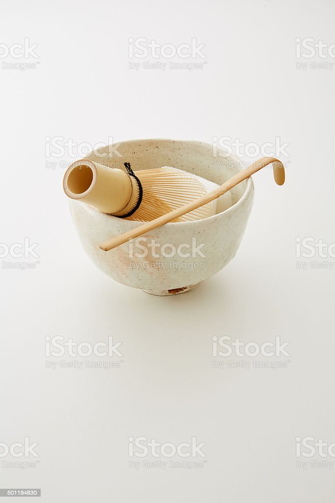 Japanese tea ceremony utensils stock photo