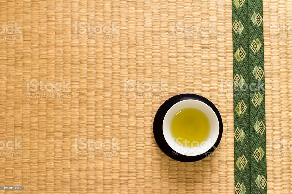 Japanese tea placed in tatami stock photo