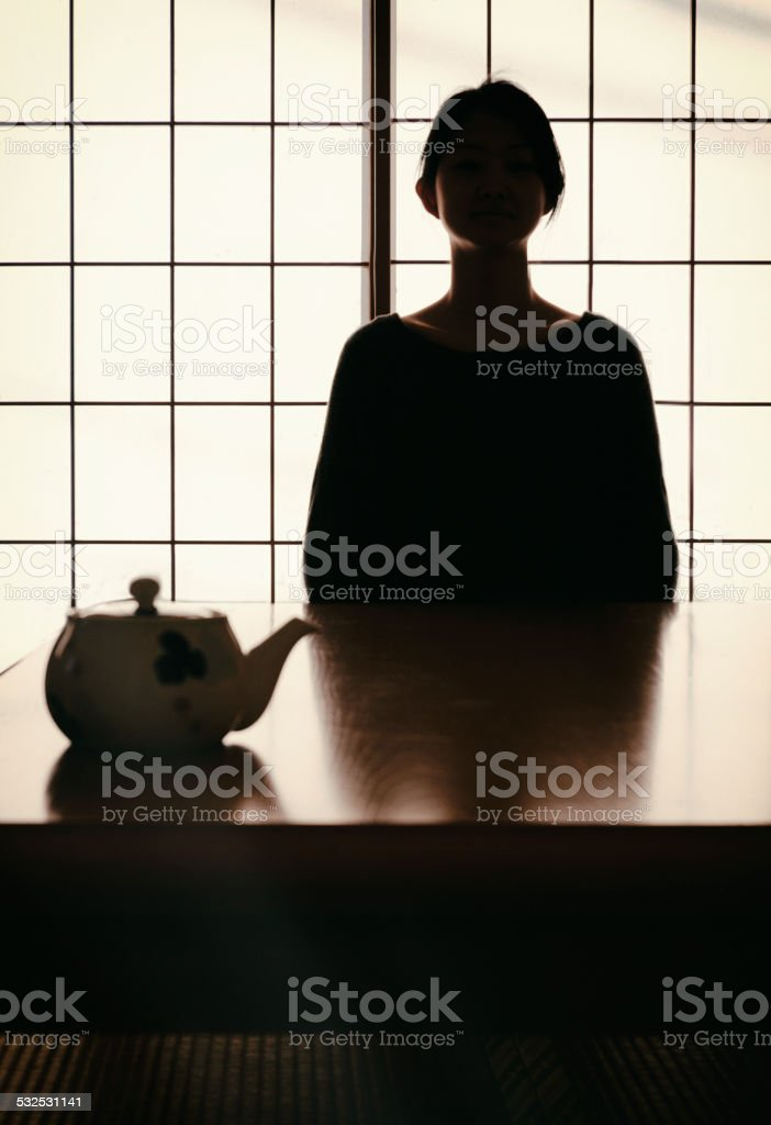 Japanese Tea Silhouette stock photo