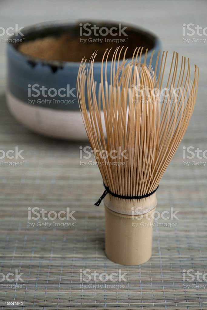 Japanese Tea Whisk and Bowl stock photo