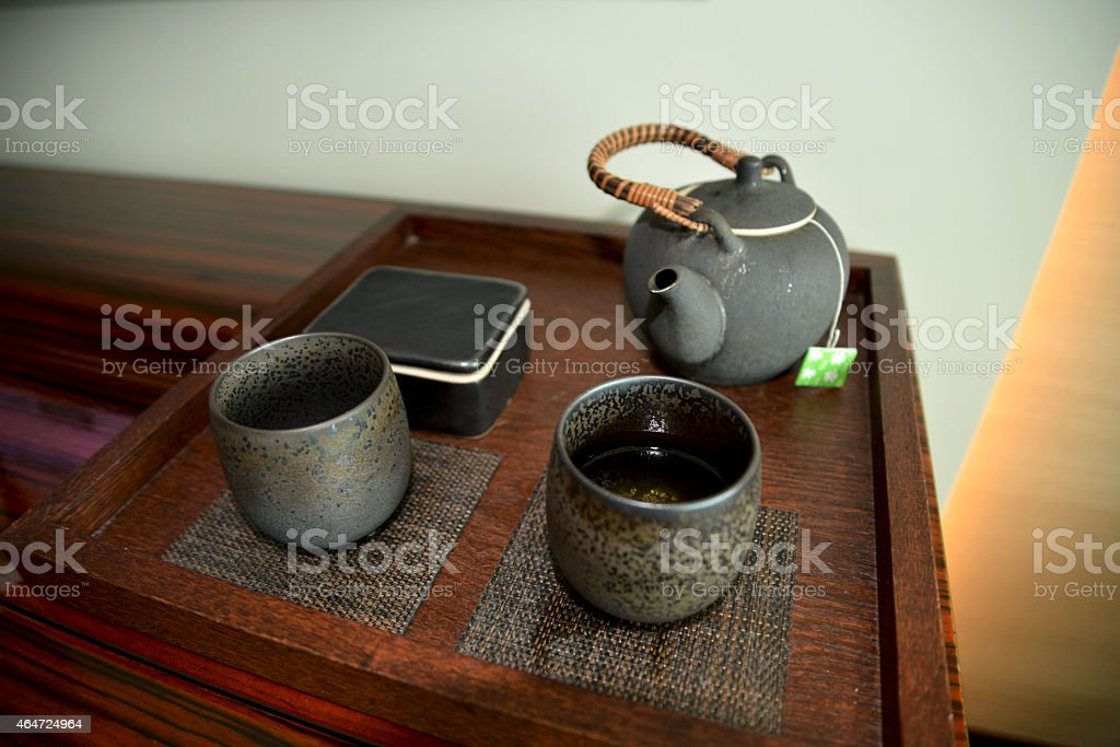 Japanese teapot and teacups stock photo