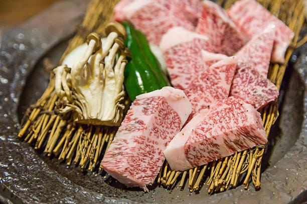japanese teppanyaki saga beef  (steak). - teppan yaki grill stock-fotos und bilder
