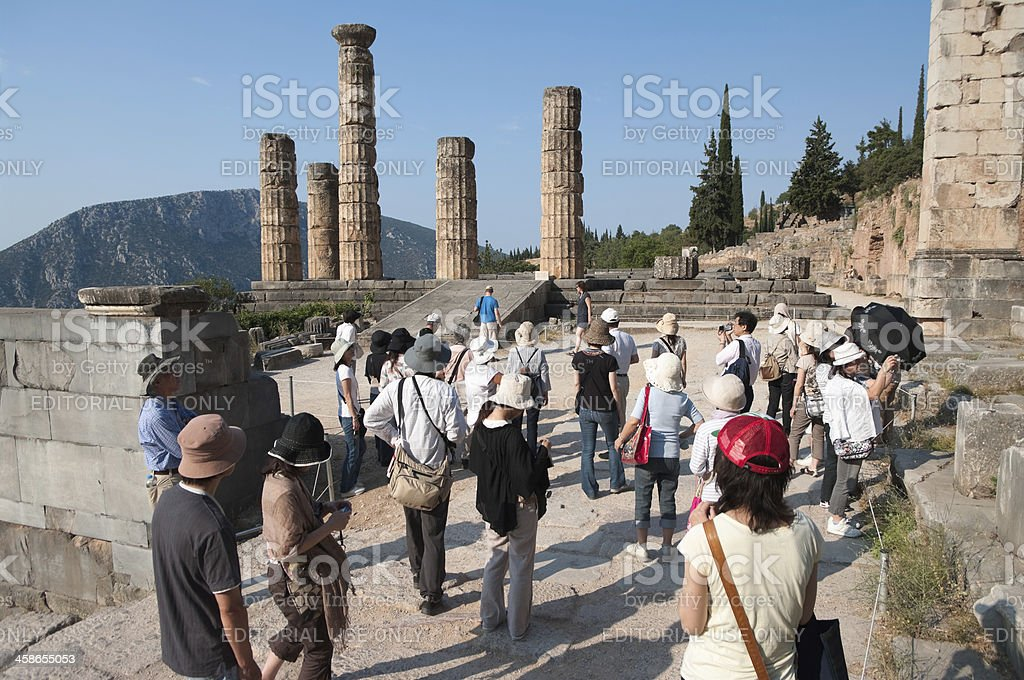 Japanese Tourists In Oracle Apollo Of Delphi royalty-free stock photo