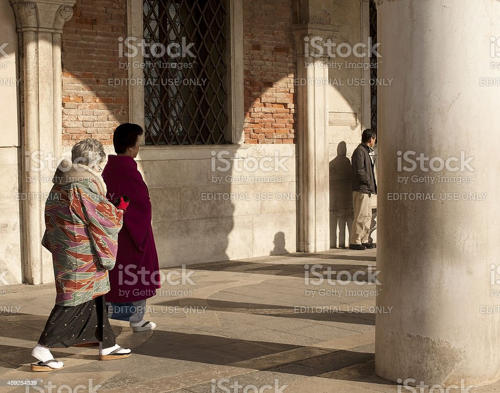 Japanese Tourists in Venice royalty-free stock photo