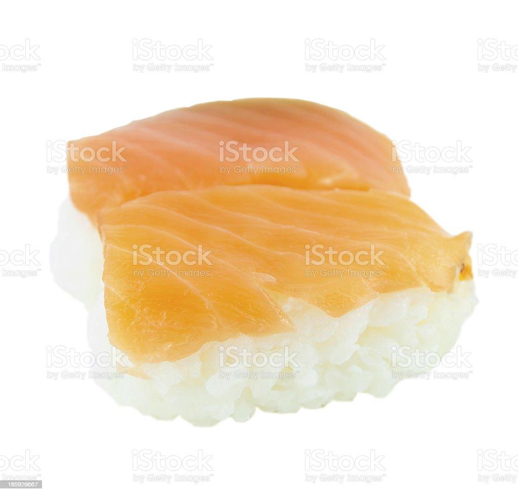 Japanese Traditional Cuisine Salmon Sushi Isolated On White