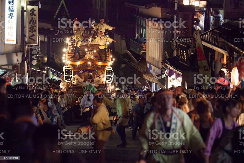Japanese traditional festival pulling a huge float stock photo