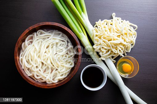 Boiled udon noodles Eat with soy sauce sauce