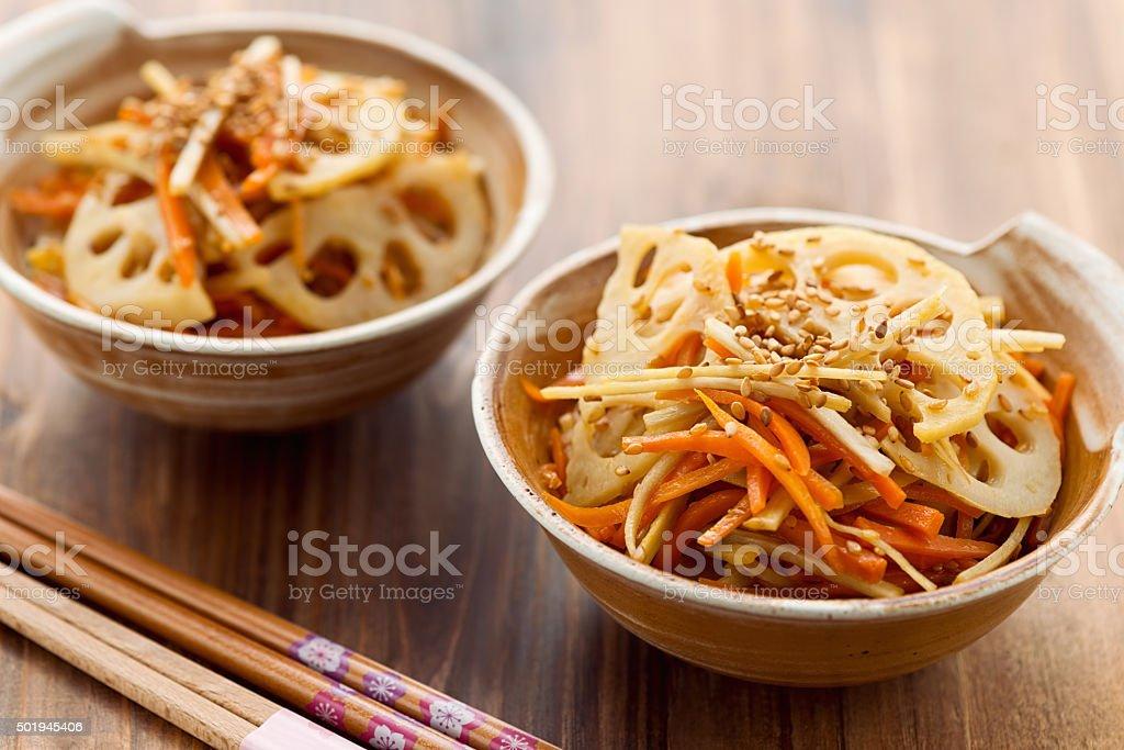 Japanese traditional vegetable dish Kinpira stock photo