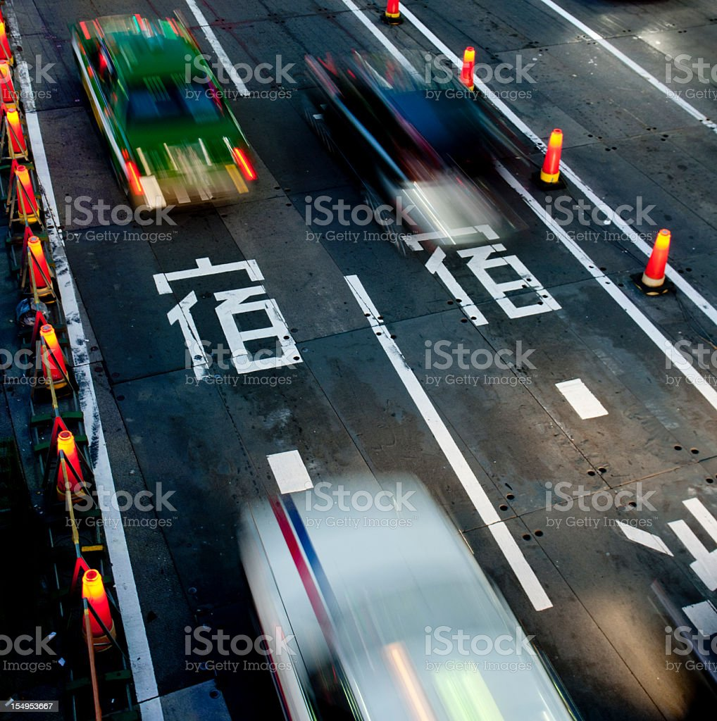 Japanese traffic motion blurred royalty-free stock photo