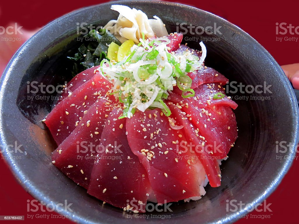 Japanese tuna bowl of with rice stock photo