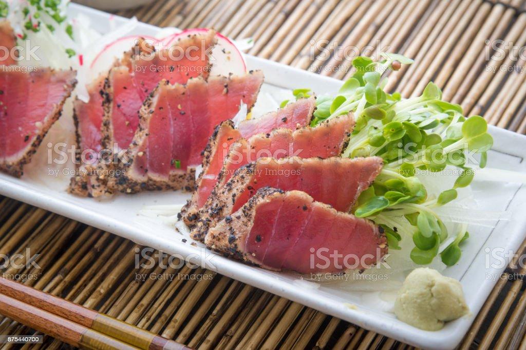 japanese tuna sashimi tataki stock photo