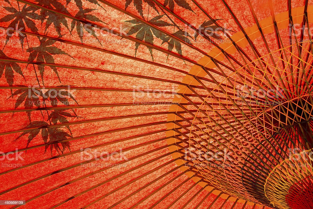 Japanese umbrella and maple stock photo
