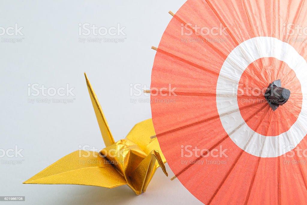 Japanese umbrella and origami stock photo