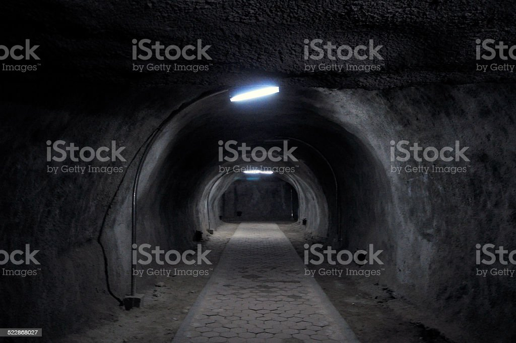 Japanese underground bunker and tunnel stock photo
