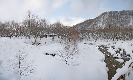 Japanese village on the river in winter