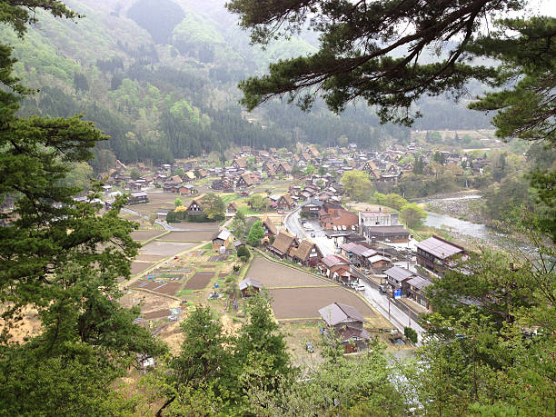 Japanese village Shirakawago, Ohno, Gifu, Japan stock photo