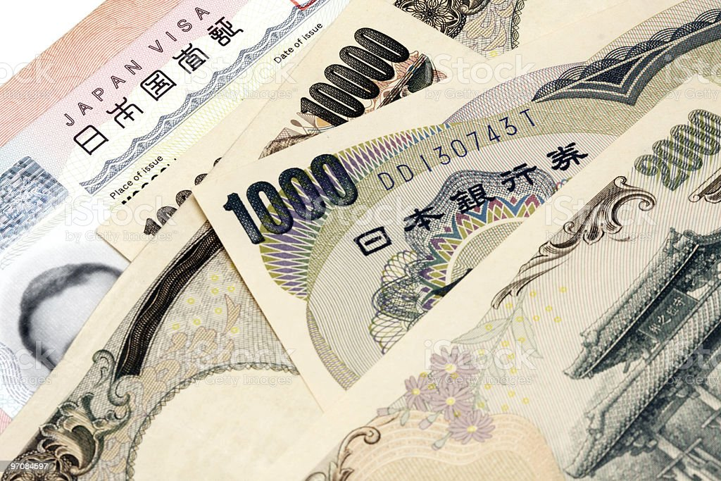 Japanese Visa and currency royalty-free stock photo