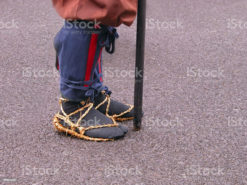 Japanese warrior feet detail royalty-free stock photo