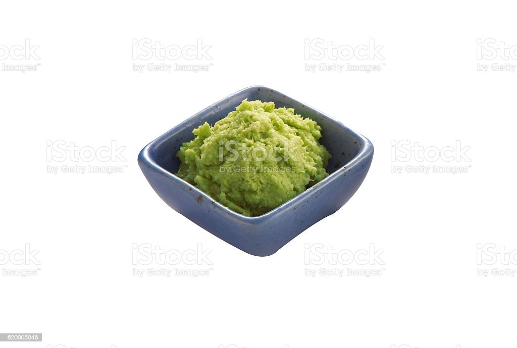 japanese wasabi in ceramic cup stock photo