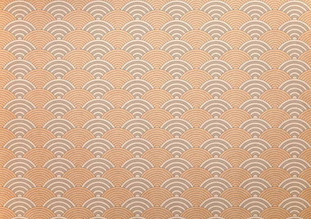 japanese washi paper with concentric circular pattern - japan pattern 個照片及圖片檔
