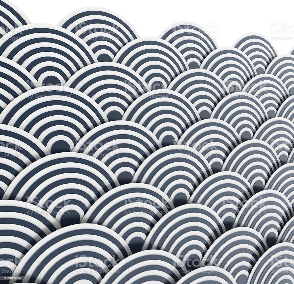 Japanese wave pattern (3d perspective) stock photo