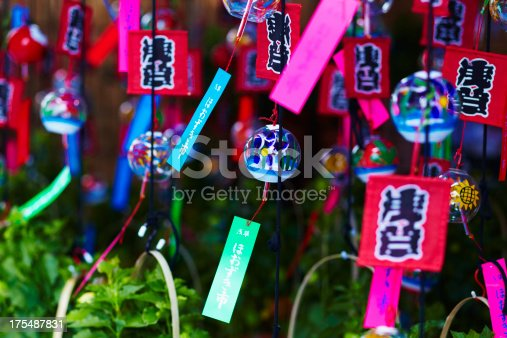 Japanese wind chime sold on the day of festival in Asakusa,ほおずき市、風鈴
