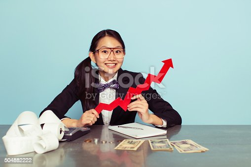 istock Japanese Woman Accountant is Growing Business 504882222