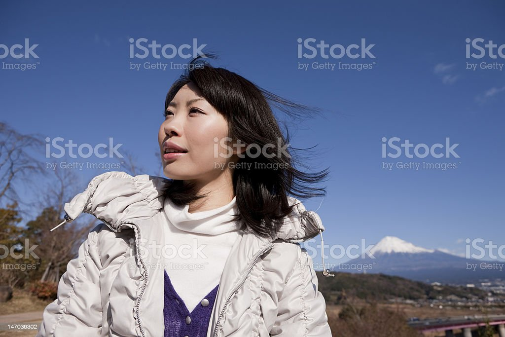 Japanese woman and Mt. Fuji royalty-free stock photo