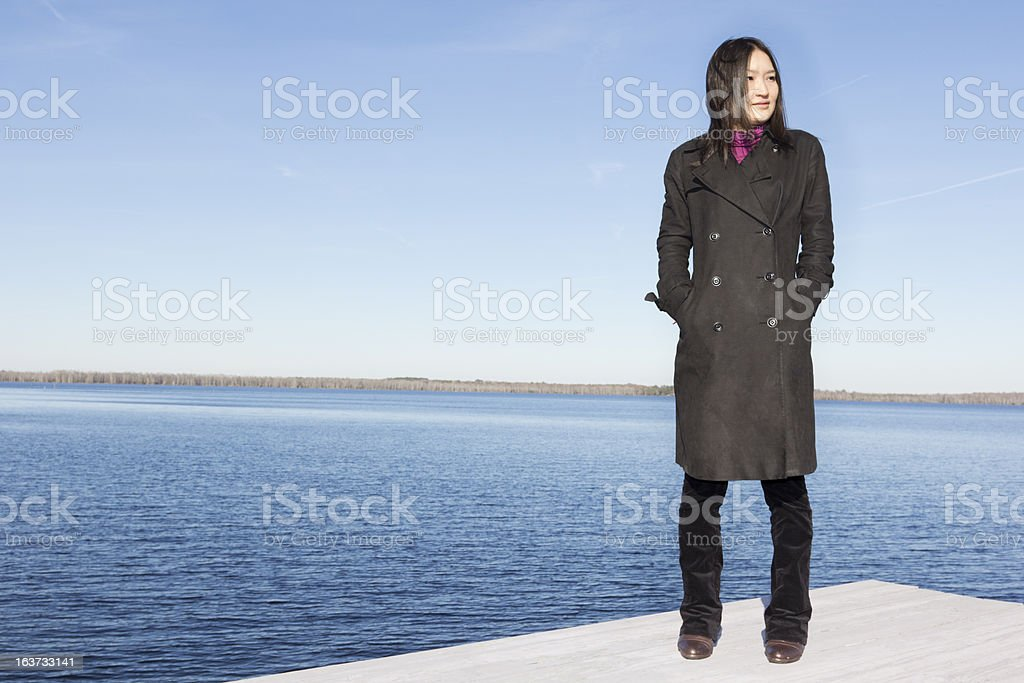 Japanese Woman by the Water royalty-free stock photo