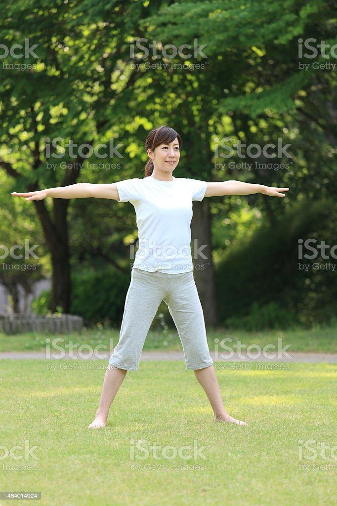 Japanese woman doing workout stock photo