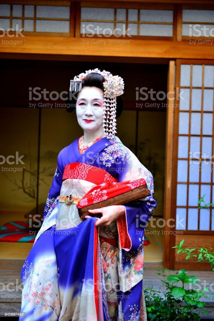 Japanische Frau Maiko Mit Kostum Und Frisur In Kyoto Maiko Erleben