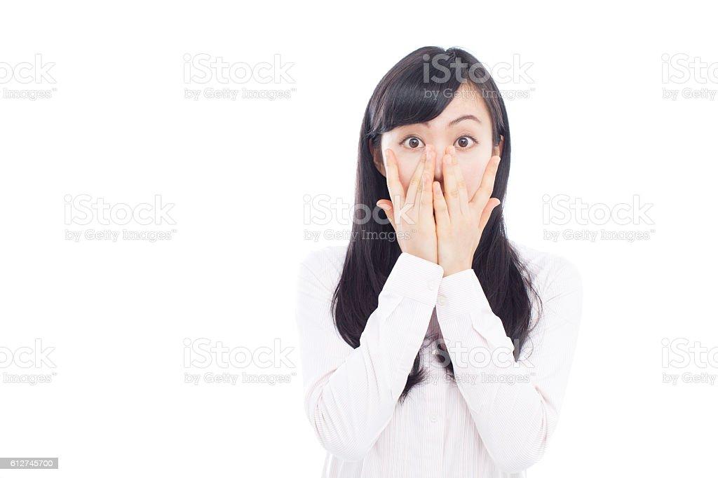 Japanese woman expresse emotions stock photo