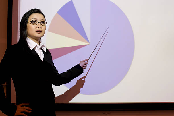Japanese woman giving a presentation stock photo