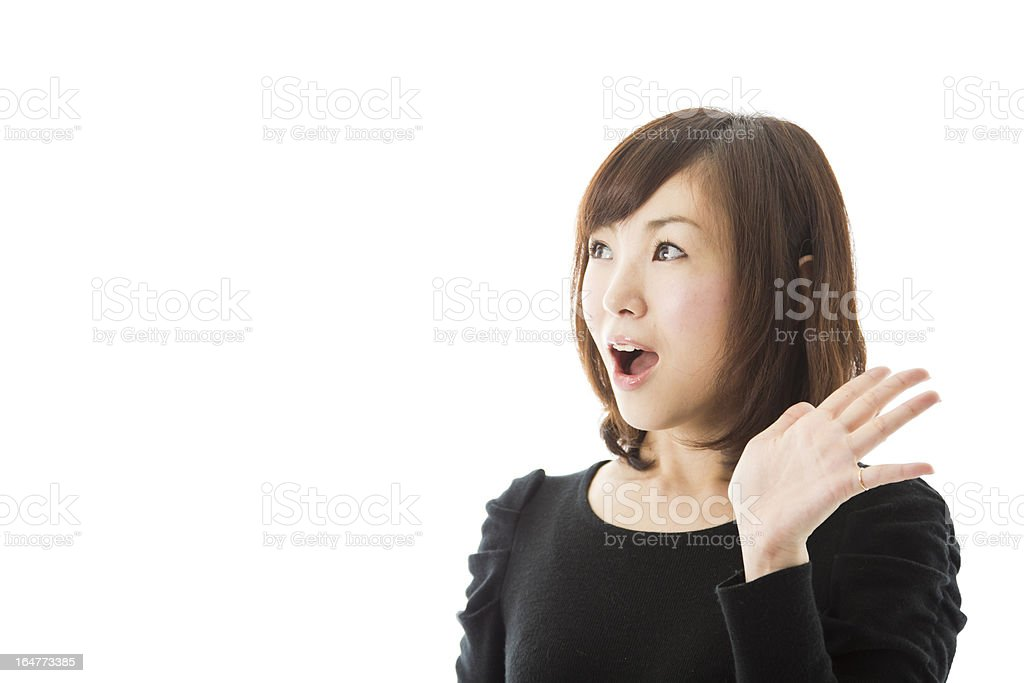Japanese Woman Hand Raised in Surprise royalty-free stock photo