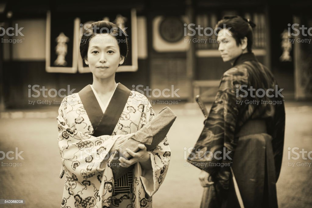 Japanese Woman In Edo Period Town Stock Photo  More -7884
